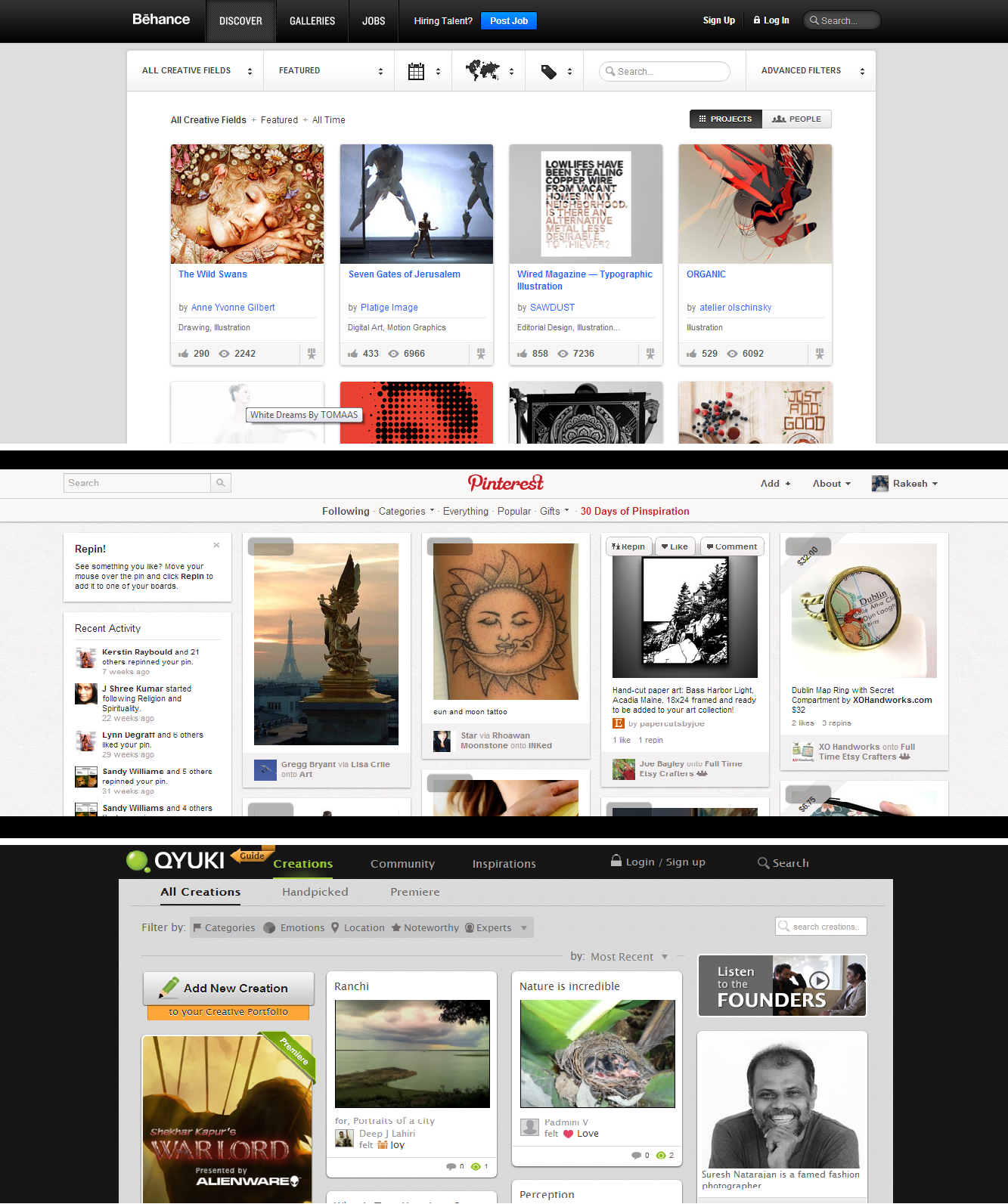 Qyuki Comparision with Behance and Pinterest